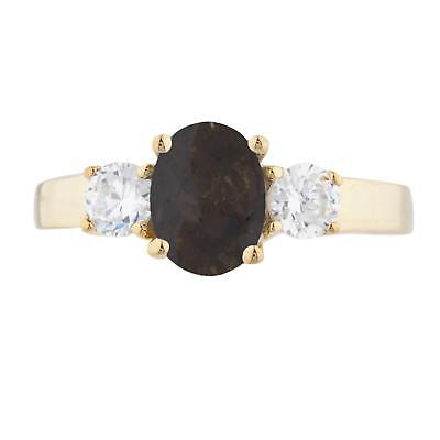 2 Ct Genuine Smoky Topaz & Zirconia Oval Ring 14Kt Yellow Gold Rose Gold Silver