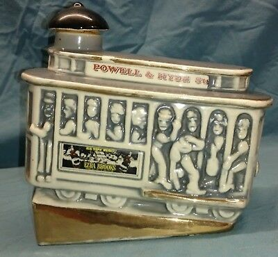 Vintage 1968 Ezra Brooks trolley car Whiskey Decanter Powell & Hyde Sts. Gray