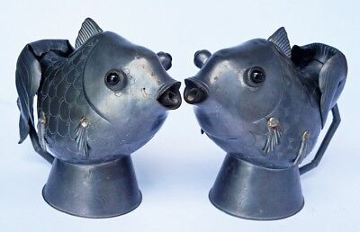 Pair of Antique Chinese Pewter Wine Ewers in Goldfish Form