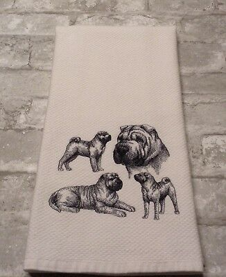 Shar Pei Collage Sketch! Embroidered Williams Sonoma Kitchen Hand Towel