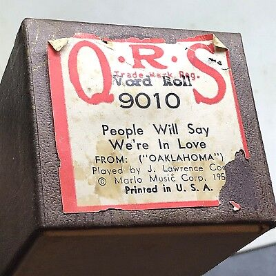 "QRS Player Piano Roll. ""People Will Say We're In Love"" #9010  V. Good Condition!"