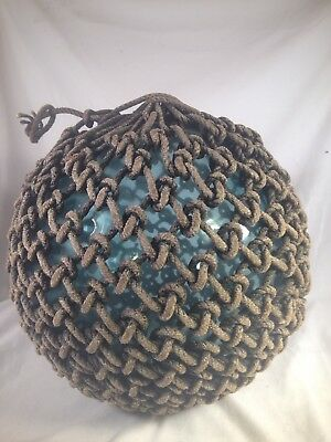 """Old Authentic Large Signed """"t"""" Vtg Antique Glass Fishing Float Rope Buoy Ball #2"""