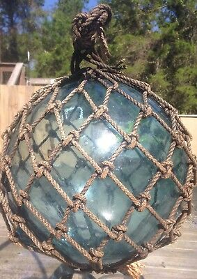 """Old Authentic Large Signed """"t"""" Vtg Antique Glass Fishing Float Rope Buoy Ball #1"""