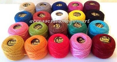 25 solid ANCHOR pearl cotton  Crochet size 8 thread ball, 85 Meters each