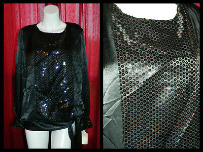 SALE VTG  Blouse WITH TAGS Black satiny sequined sash disco retro Mod 70s look