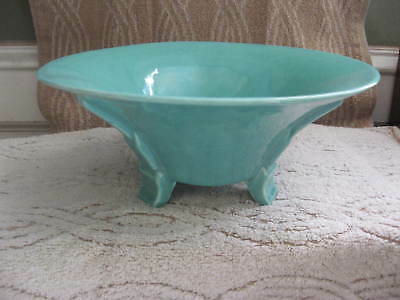 """RARE STANGL ART DECO POTTERY BOWL  8.75"""" diameter Green/Blue 3 footed"""