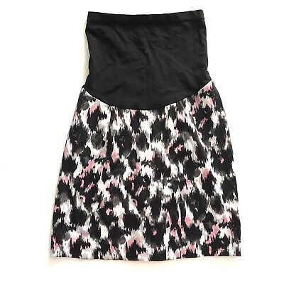 Motherhood Maternity Womens Size Small Black Pink Printed Skirt Pencil Straight
