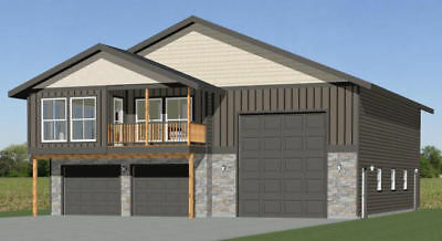44x48 Apartment with 2-Car 1-RV Garage - PDF FloorPlan - 1,528 sqft - Model 5F
