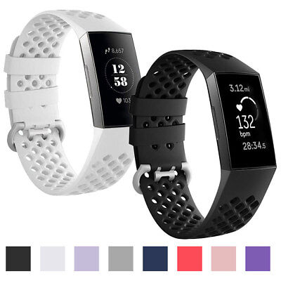 Breathable Sports Soft Silicone Band Strap For Fitbit Charge 3 Watch Accessories