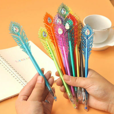 5 Pcs Peacock Feather Shaped Gel Pens Plastic Stationary Wholesale Kids Office