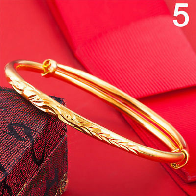 WOMENS GIRLS ENGRAVED SHINY GP swirl PATTERNED ADJUSTABLE BANGLE no=5