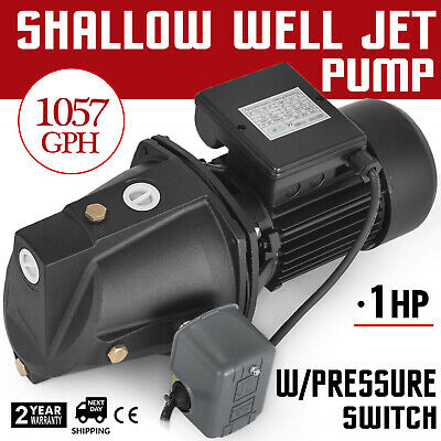 1 HP Shallow Well Jet Pump w/ Pressure Switch 110V Supply Water Wells 216.5 FT