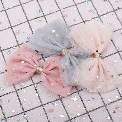 """4"""" Bling Stars Lace Hair Bow Hair Clips For Girls Glitter Knot Hair Accessories"""