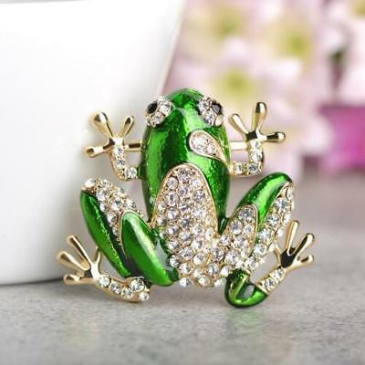 Gorgeous Cute Vintage Gold Plated Green Enamel White Crystal Frog Fashion Brooch