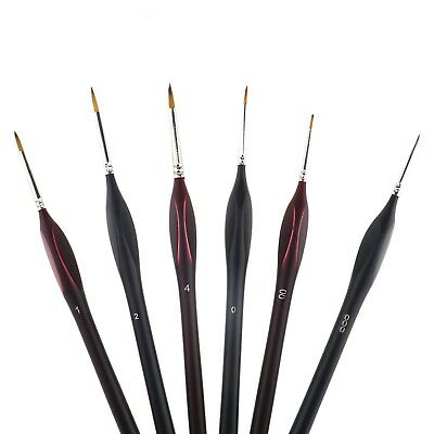 6 Extra Fine Handle Detail Paint Brushes Mini Detailing Painting Black/Red
