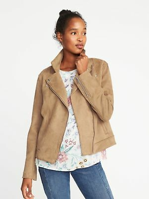 c9b9e9903e3 NEW Old Navy Women s Sueded Knit Moto Jacket Size Large Creme Caramel Tan  NEW