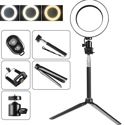 """US 8"""" LED Ring Light w/ Stand 5500K Dimmable Lighting Kit Makeup Phone Camera"""