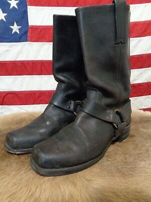 Vtg Frye Harness Leather Black Boots Mens 10 Usa Made Pull On Strap Motorcycle