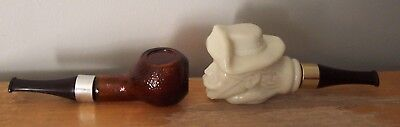 2 Vintage Avon Pipe Bottles/decanters - Pony Express Rider,  Plain Amber Color