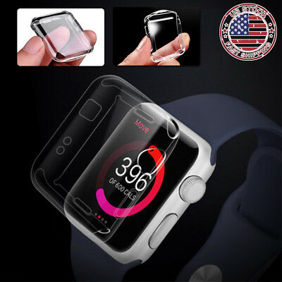 Fr Apple Watch Series 3 38MM 42MM Full Body Clear Snap On Soft Case Screen Cover