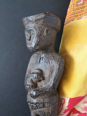 """Old Flores Islands Wood Carving  """"Man, and his Fighting Cock"""" …beautiful and..."""