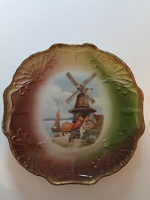 Windmill ceramic plate...hand painted! germany colorful 8""
