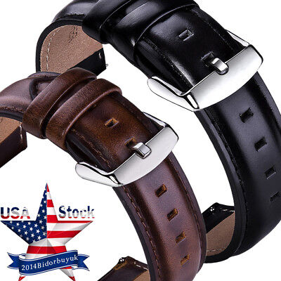 18 20 22mm Genuine Leather Watch Strap Band SS Buckle Quick Release Spring Bars
