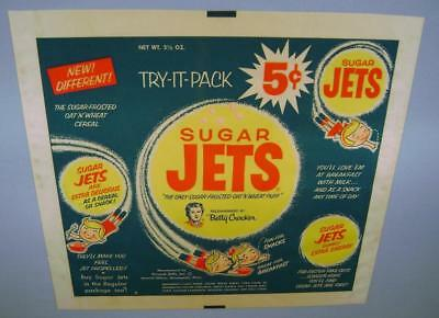 Rare 1953 Sugar Jets Cereal Try-It-Pack Complete Foil Wrapper - Killer Graphics!
