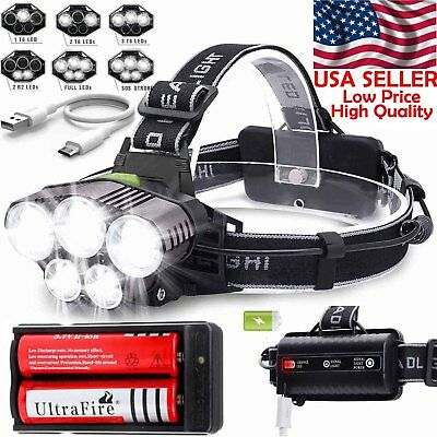 200000LM 5X T6 LED Headlamp Rechargeable Head Light Flashlight Torch Lamp USA
