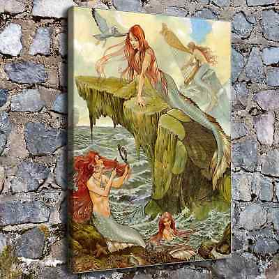 "12""x16""Mermaid Poster HD Canvas print Painting Home Decor Picture room Wall art"