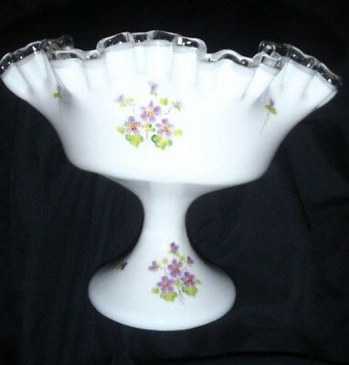 Fenton Compote Hand Painted Signed Pale Mint Green Frosted Ruffled Candy Dish Art Glass Fenton
