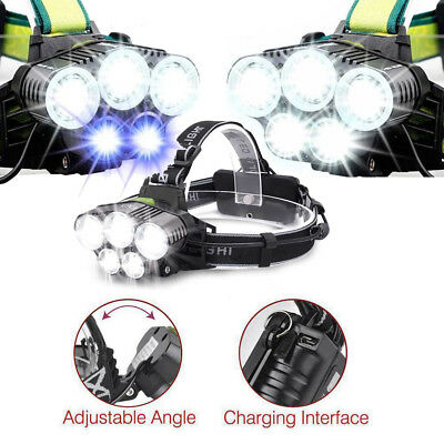 5x T6 LED USB Rechargeable Headlamp 150000LM Headlight Camp Torch 18650 Battery