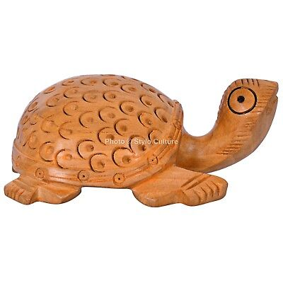 Hand Carved Wooden Turtle Sculpture Collectible Land Tortoise Statue Figurine