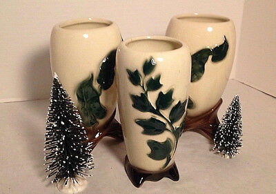 Vintage Set of 3 Royal Copley Vases 1950's Ivy Philodendron EUC Mid Century