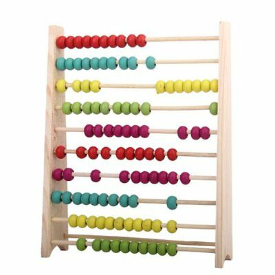 Wooden 10-Row Children's Counting Abacus Educational Frame Maths Toy Kids Gift