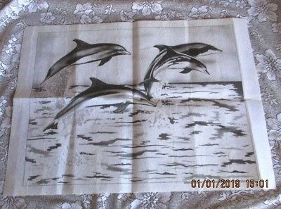 HOBBYTEX  PRE-SHADED *DOLPHINS - NO INSTRUCTIONS INCLUDED - UNWORKED 60cm x 46cm