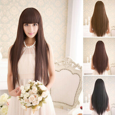 Women's Full Long Fancy Dress Wigs Straight Hair Cosplay Costume Party Sexy Wig