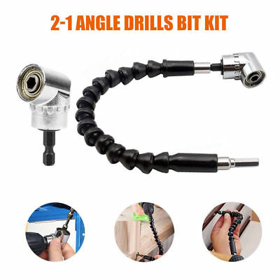 """1/4""""Right Angle Drill Flexible Angle 105 °Extension Bit Kit for Drill Attachment"""