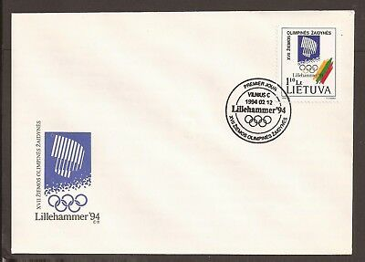Lithuania 1994 FDC. Lillehammer winter Olympic games