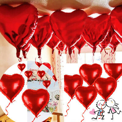 "10Pcs 18"" Red Heart Foil Helium Balloons Valentines Day Wedding Engagement Decor"
