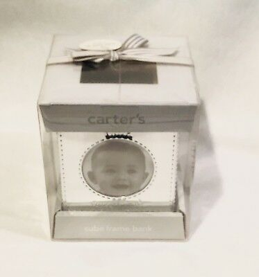NEW Carters Silver Cube 4 Picture Frame Bank Shower Baby Gift Nursery Decor