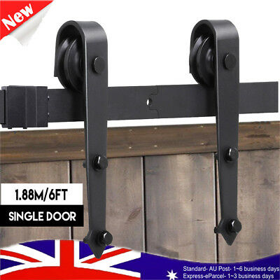 1.88M 6FT Sliding Barn Door Hardware Roller Track Rail Kit Closet Country Style