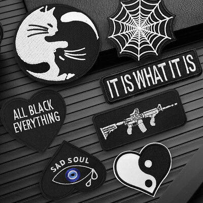 Black Punk Embroidery Sew On Iron On Patch Badge Fabric Applique Craft Transfer
