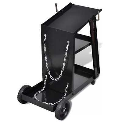 Hand Tool Welding Cart Black Trolley with 3 Shelves Workshop Organiser Trolley