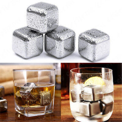 Reusable Stainless Steel Red Wine Ice Stones Drinks Cooler Cubes Whiskey Scotch