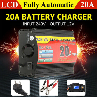 20A 12V Battery Charger Inverter 20 Amp Car ATV 4WD Boat Caravan Motorcycle