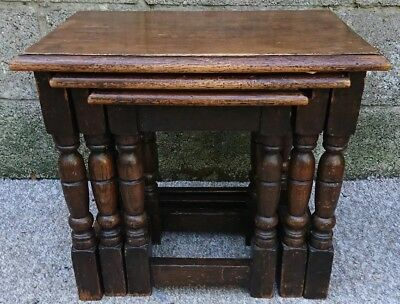Antique Victorian Nest Of Three Solid Chunky English Oak Tables