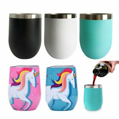 12oz Metal Stainless Steel Wine Tumbler Double Wall Insulated Rambler Cup BK