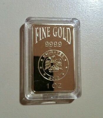 1oz bar Emirate 9999 gold Finished 24k Gold Ingot Bar in capsule