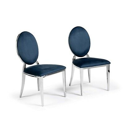 eGB88 A Pair of Luxury Louis Blue Brushed Velvet Stainless Steel Dining Chairs